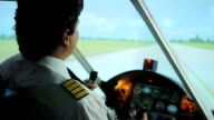 Confident plane captain successfully steering aircraft, takeoff from runway video