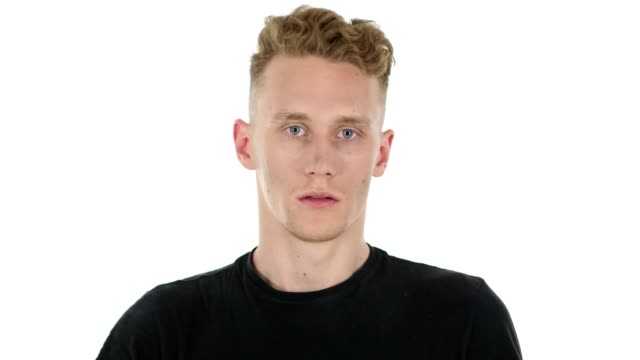 Confused Scared, Afraid Young Man on White Background video