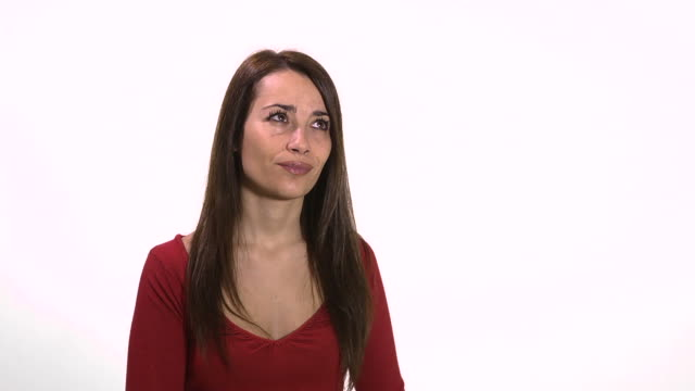 Confused young woman using emoticon for emotions video