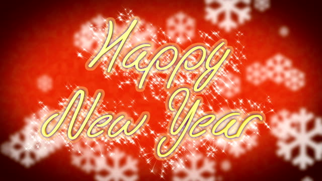 Congratulation message Happy New Year on winter themed background, greeting video