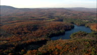 Connecticut river and state border - Aerial View - New York,  Washington County,  United States video