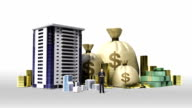 Construction building and make city with cash, money, bills, loan,debt for construction development video
