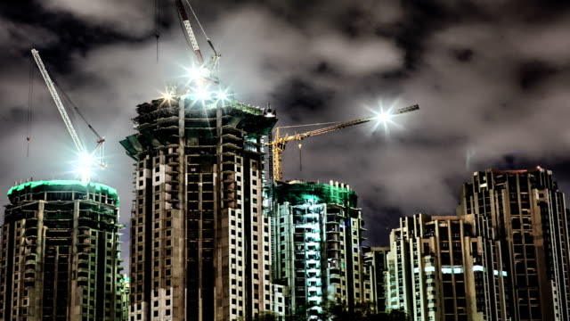 Construction building at night video