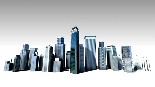 Construction building city skyline, make city in animation.2 video