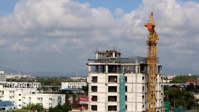 Construction building with crane video