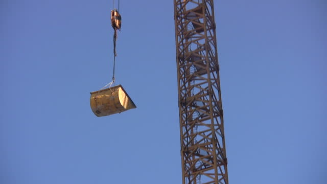 Construction Crane loaded up lifting hook video
