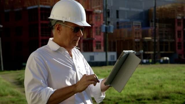 construction engineer using tablet video