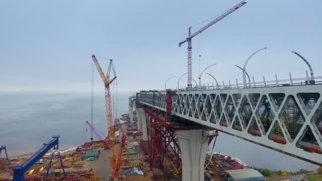 Construction in progress of a mass rapid transit line video