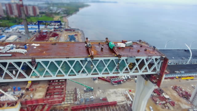 Construction in progress of a mass rapid transit line video