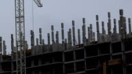 Construction of multi-storey house. Construction site. video