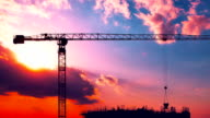 Construction of the building at sunset video