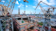 Construction of the ship in shipyard timelapse video