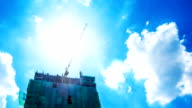 Construction On Crane with lens flare video