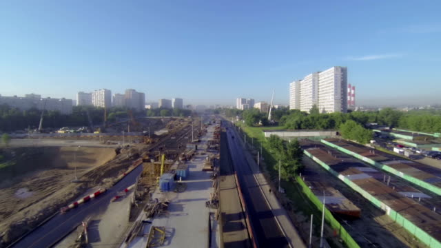 construction overhead road video
