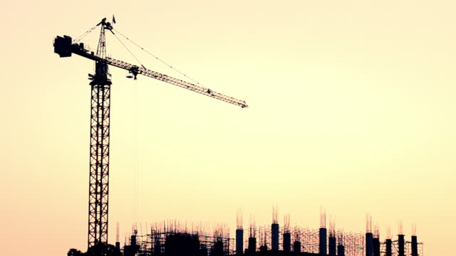 Construction silhouette at sunset video