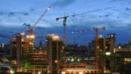 Construction Site from Dusk to Night Time Lapse video