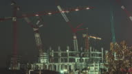 Construction Site in City,Day to Night Time lapse video