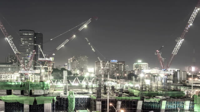 Construction Site in city,Panning shot Time lapse video