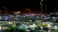 Construction site in Doha at night video