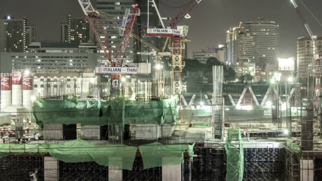 Construction Site in the big city,Panning shot Time lapse video