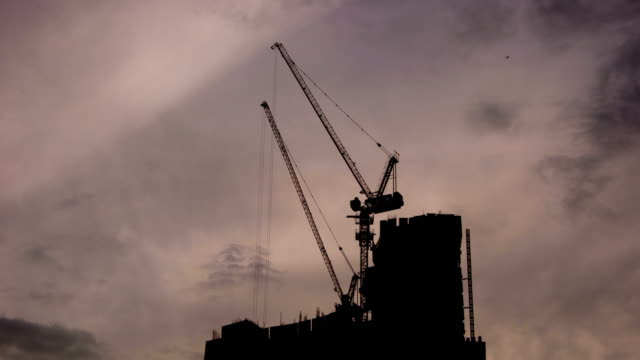 Construction site in the morning with moving cloud video