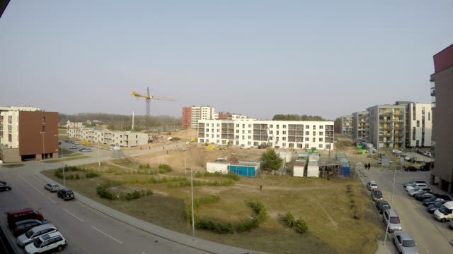 Construction site time lapse. Building multistory houses. video