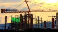Construction Site Time Lapse golden sky. video