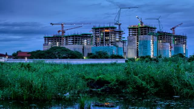 Construction site with crane activity video