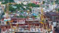 Construction site with cranes in Bangkok Thailand video