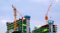 Construction Site Working at dusk Time Lapse Panning video