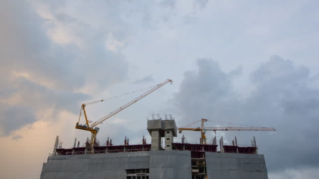 Construction Site Working at dusk to Night Time Lapse video