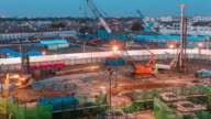 Construction Site,Day to Twilight Time lapse video