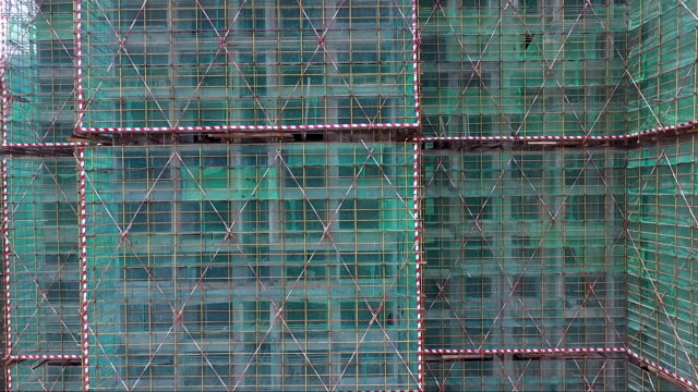 construction sites with green net protected video