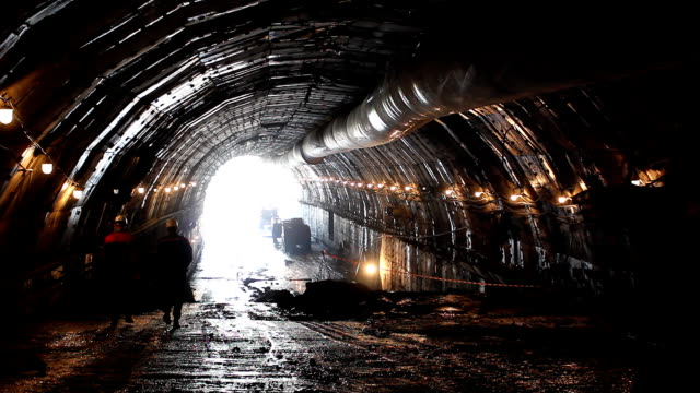 Construction subway tunnel. video