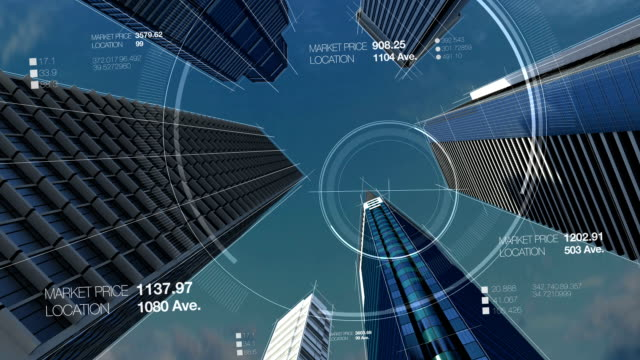 Construction technology, building city skyline in digital display. video