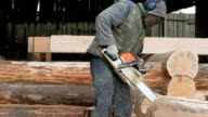 Construction worker cuts wood chainsaw for future home. Protective mask and headphones on the head of the builder and a lot of sawdust. Hangar with a part of the future home on the background video