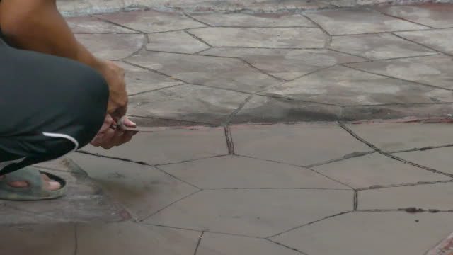 Construction worker make texture on concrete floor video