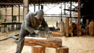 Construction worker planing a piece of wood for a building project. Construction grinds electric hand plane. Against the background of the factory premises, slow motion video