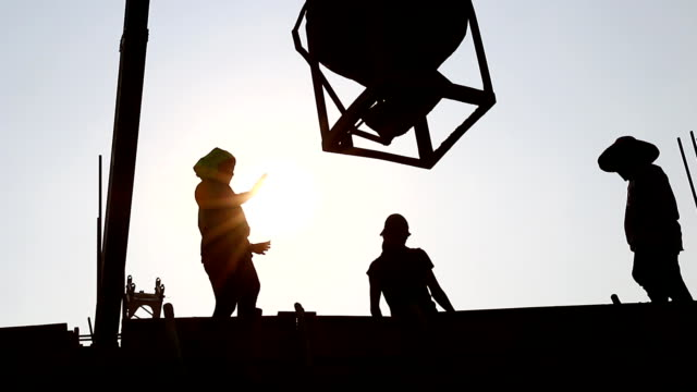 Construction Workers silhouette video
