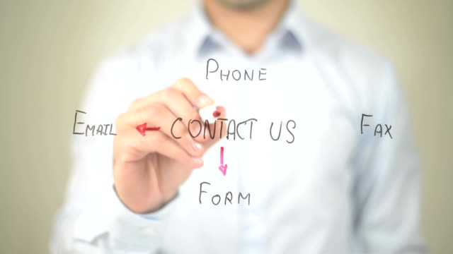Contact Us, Concept Clip Art,  Man writing on transparent screen video