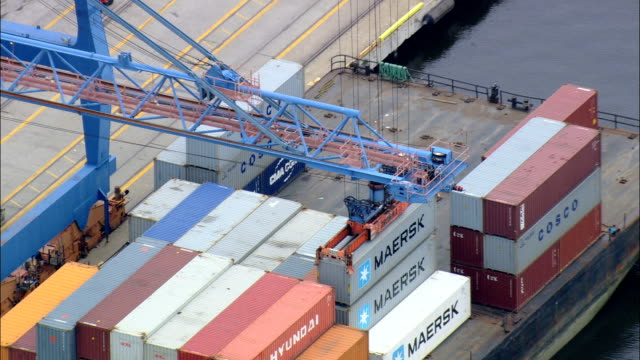 Container Being Loaded On Barge  - Aerial View - Maryland, Baltimore County, United States video