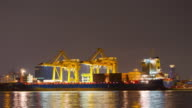Container Cargo freight ship at night, Time lapse video
