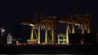 Container Cargo freight ship at night video