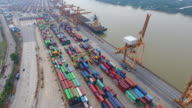 Container Cargo freight ship with working crane bridge in shipyard video