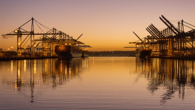 Container cranes working during sunset 4K TIME LAPSE video