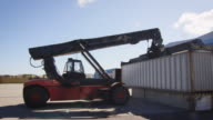 Container Handler is Working in Logistic Center video