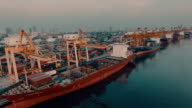 Container port Aerial shot video
