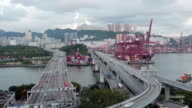 Container port, Central Hong Kong, day to night video