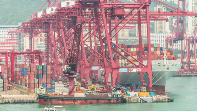 Container port, Central Hong Kong,Tilt up. video