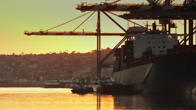 Container Ship Being Unloaded at Sunset video